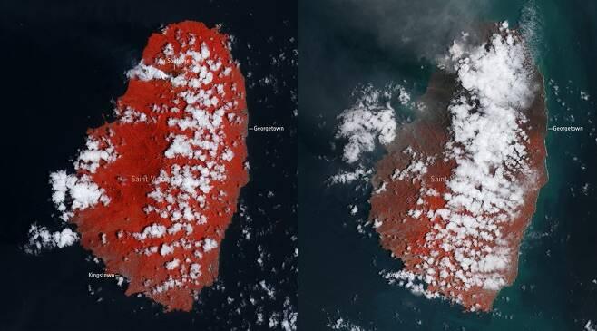 코페르니쿠스 위성이 촬영한 세인트빈센트섬의 화산 폭발 전과 후의 모습. 사진=ESA