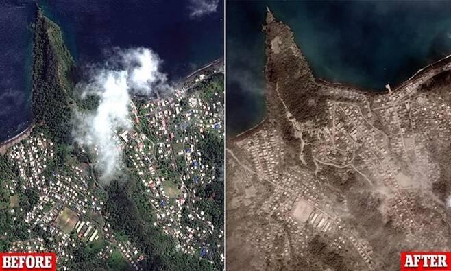 맥사 테크놀로지스가 촬영한 화산 폭발 전과 후의 모습