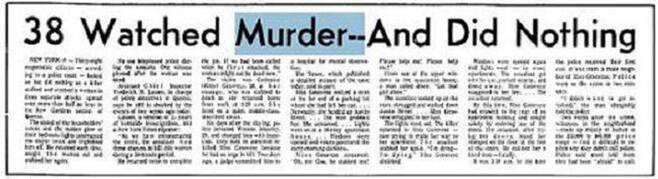 38명의 시민이 살인사건을 방관했다고 보도한 <뉴욕타임스> 기사.