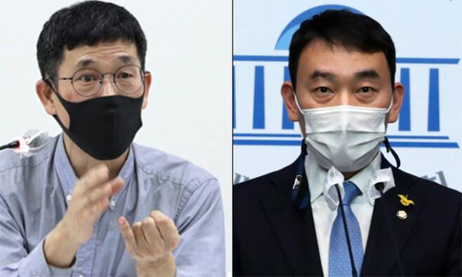 (왼쪽부터) 진중권 전 동양대 교수. 김용민 더불어민주당 의원. 뉴스1