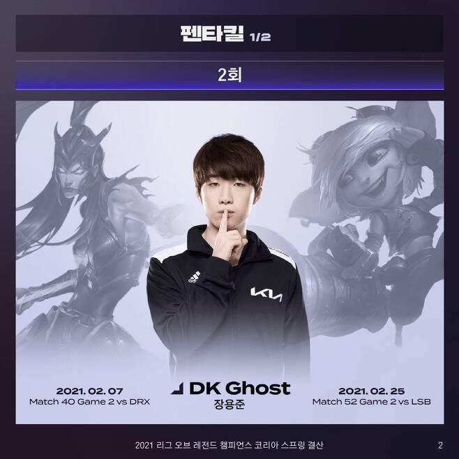 LCK 스프링 펜타킬 2회 기록 달성한 고스트 장용준 선수