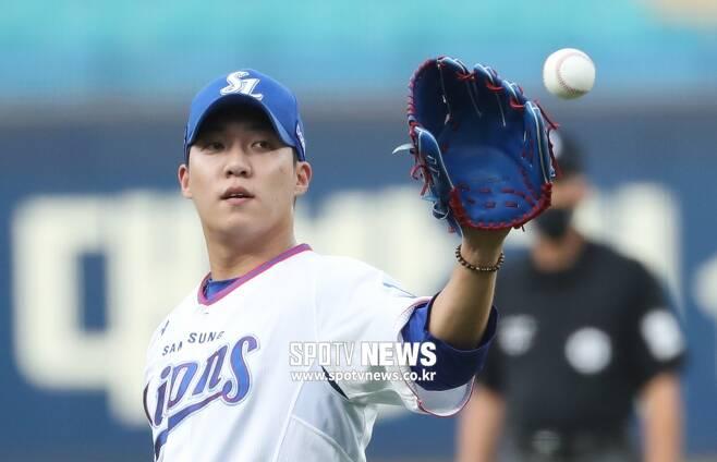 ▲ 시즌 첫 한 달 동안 토종 최고의 실적을 거둔 삼성 원태인 ⓒ곽혜미 기자
