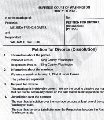 멀린다 게이츠가 3일 워싱턴주 킹카운티 지방 법원에 제출한 이혼 신청서 사본. [사진 TMZ]