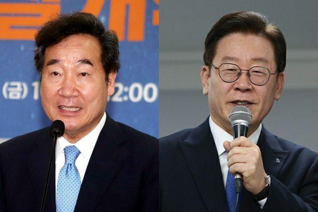 이낙연 전 민주당 대표(왼쪽)과 이재명 경기도지사. /조선DB
