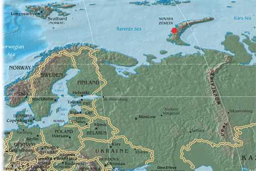 위키미디어 / 우측 상단 빨간점으로 표시된 노바야제믈랴 제도