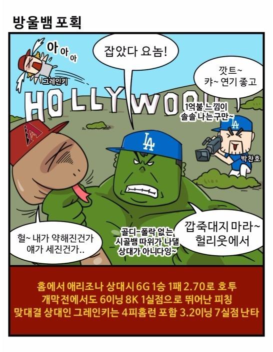 출처: [MLB 코메툰] 뱀잡은 류현진, 범(가너)도 잡을까