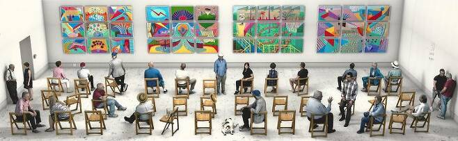 출처: David Hockney_Pictures at an Exhibition_2018_ photographic drawing printed on 8 sheets of paper_273x 871cm   사진제공 구하우스