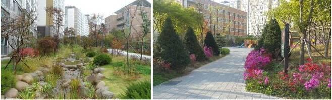 출처: 텐즈힐 1단지의 조경 시설. 2016년 '서울시 공동주택 공동체 활성화 공모사업' 우수사례로 선정되기도 하였다.