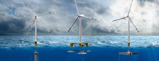 미래 해상풍력 기술의 대세로 꼽히는 부유식 해상풍력 발전기. 부유체 높이와 계류 방식에 따라 크게 3가지 방식이 있다. 국제재생에너지기구(IREA) 제공