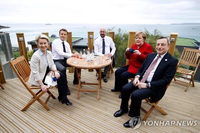 G7 정상회의 전 EU 조정회의 참석자들 [AFP=연합뉴스]