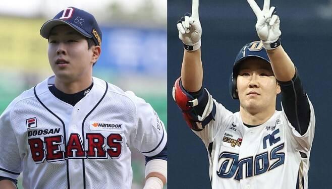 2020 도쿄올림픽 야구 대표팀 승선을 노리는 두산 베어스 박건우(왼쪽)와 엔씨 다이노스 박민우. 연합뉴스