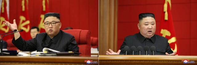 김정은 북한 국무위원장이 15일 노동당 전원회의를 주재하는 모습(왼쪽 사진)과 3월 6일 제1차 시·군당 책임비서 강습회에서 폐강사를 하던 모습을 비교하면 급격한 체중 감소를 확인할 수 있다. 연합뉴스