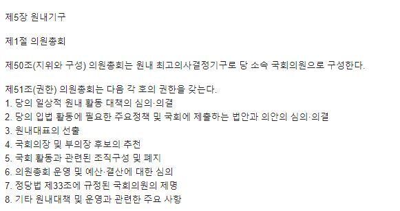 민주당 당헌 의원총회 권한. 민주당 홈페이지 캡처