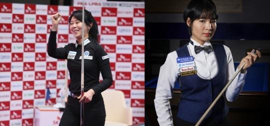 첫 결승대결을 벌이는 김가영(왼쪽)과 스롱피아비(사진출처=PBA.브릴리언트 빌라아드)