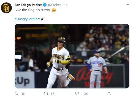 23일(한국시간) LA 다저스와의 경기에서 홈런포를 터트린 샌디에이고의 김하성. 사진=샌디에이고 파드리스 공식 트위터 계정