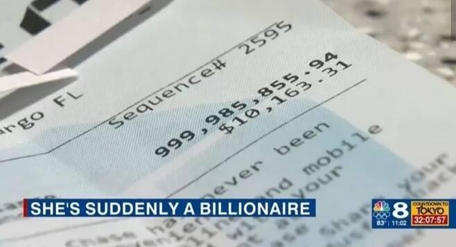 한 미국 여성의 통장에 자신도 모르는 사이 1조 1325억원이란 돈이 들어왔다. 데일리메일 캡처