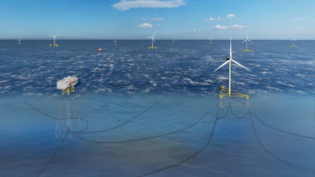 동해 부유식 풍력발전단지 조감도. 울산시는 석유공사 동해가스전 시추시설을 활용해 2030년까지 영남권 전 가구가 쓸 수 있는 전력을 생산한다는 계획이다. 울산시 제공