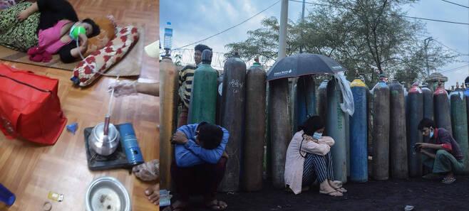 코로나가 창궐하고 있는 미얀마는 산소통을 구하기 위한 전쟁이 벌어지고 있다. 한 환자가 물을 끓여 산소를 공급받고 있다. [사진 : 트위터 미얀마 나우]
