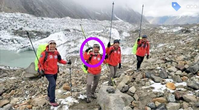 장애 산악인 김홍빈 대장이 브로드피크(8047m급) 등정 뒤 하산 하던 중 실종된 가운데 김 대장이 지난 6월 27일 소셜미디어에 올린 등정 준비모습. /뉴시스