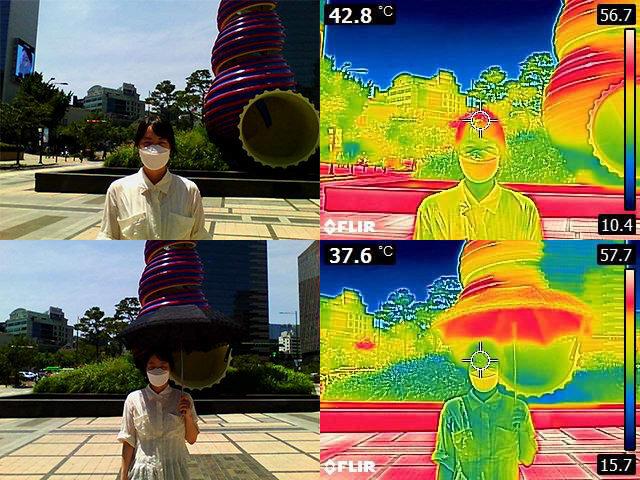 양산을 쓸 때와 쓰지 않을 때를 각각 열화상카메라로 촬영했다. 양산을 쓰지 않았을 때(위쪽)의 머리 온도는 40도를 넘었지만 양산을 썼을 경우(아래쪽)는 30도대로 낮아졌다. 장승윤 기자 tomato99@donga.com