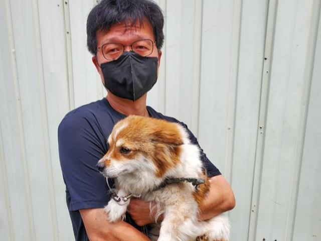 임영기 동물구조119 대표가 도살장 뒤편에서 '애완견'으로 길러지던 개를 구조한 후 안아보고 있다. 동물구조119 제공