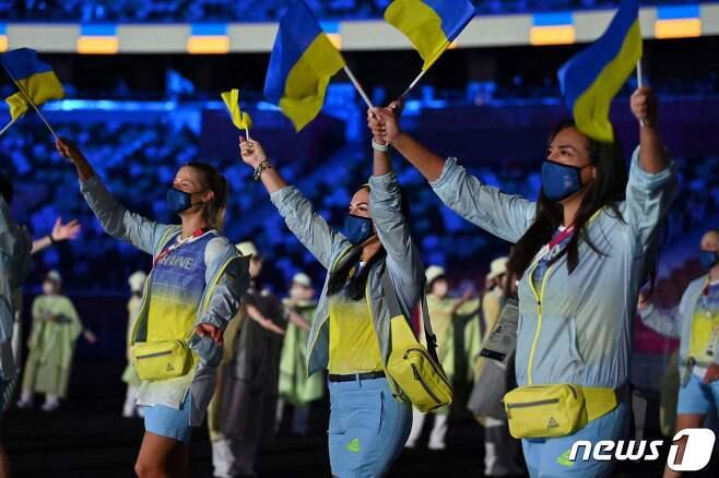 도쿄 올림픽 개막식에서 우크라이나 선수들의 모습.  © AFP=뉴스1
