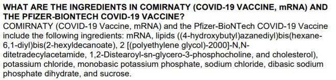 화이자 백신 구성 성분 목록 (출처: FDA 홈페이지)