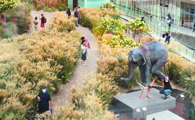 롯데백화점 동탄점 3층과 연결돼 있는 3300㎡의 힐링 공간 '더 테라스'는 국내 최대 규모의 야외 정원이다. 실제 갈대밭이 조성돼 있다. 사진 오른쪽 아래는 코끼리의 무게를 견디는 남자를 묘사한 현대미술가 파비앙 머렐의 작품 '펜타튜크'.