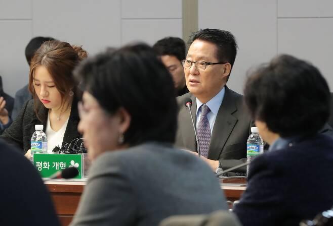 지난 2018년 1월 국회 의원회관에서 열린 국민의당지키기운동본부 전체회의에 당시 박 의원과 조성은 전 국민의당 비대위원이 참석하고 있다. /연합뉴스