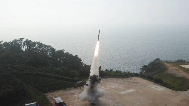 지난 15일 국방과학연구소가 공개한 초음속 순항미사일. 국방부 제공