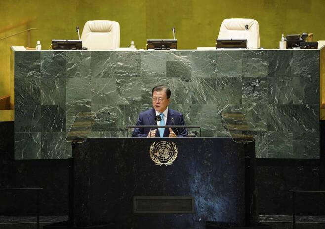 [뉴욕=뉴시스] 김진아 기자 = 문재인 대통령이 20일(현지시간) 미국 뉴욕 유엔본부 총회장에서 열린 제2차 SDG Moment(지속가능발전목표 고위급회의) 개회식에서 발언하고 있다. 2021.09.20.