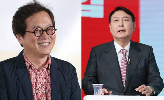 맛 칼럼니스트 황교익(왼)씨와 윤석열 전 검찰총장. (사진=연합뉴스, 국회사진기자단)