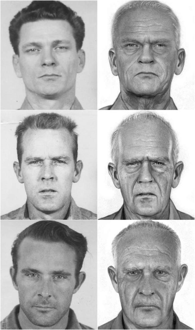 1960년 촬영된 앨커트래즈 탈옥범들의 머그샷(왼쪽)과 2014년 연방보안국이 만든 80대 추정 모습. 위쪽부터 프랭크 모리스, 존 앵글린, 클라렌스 앵글린. FBI·미 연방보안국