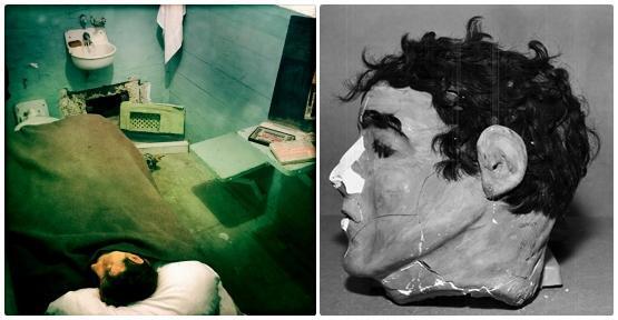 미국 앨커트래즈 교도소 수감자들이 탈출 당시 간수들의 눈을 속이기 위해 만든 현장을 복원한 모습(왼쪽 사진)과 프랭크 모리스의 감방에서 발견된 머리 모형(오른쪽 사진). 코 부분은 당시 모리스가 잠들어 있는 줄 알았던 간수장이 베개를 흔드는 과정에서 침대 아래로 굴러 떨어져 부러졌고, 이후 복원됐다. 앨커트래즈역사·FBI 홈페이지