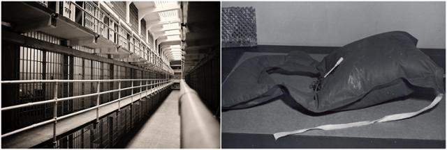 '브로드웨이'로 불리는 앨커트래즈 B블록 중앙복도(왼쪽 사진)와 바다에서 발견된 탈옥범들의 '우비 구명조끼' 모습. 앨커트래즈역사·FBI 홈페이지