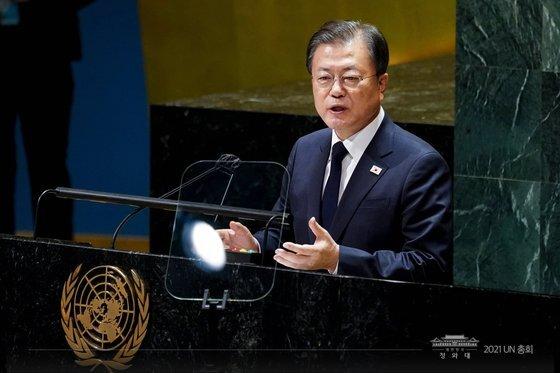문재인 대통령이 21일(현지시간) 미국 뉴욕 유엔 총회장에서 기조연설을 하고 있다. [뉴스1]