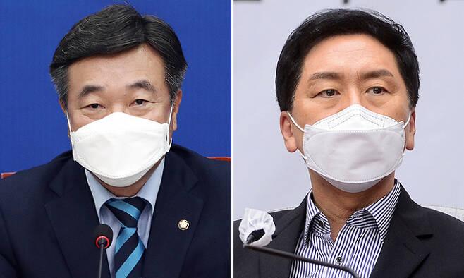 더불어민주당 윤호중 원내대표(왼쪽),국민의힘 김기현 원내대표. 연합뉴스