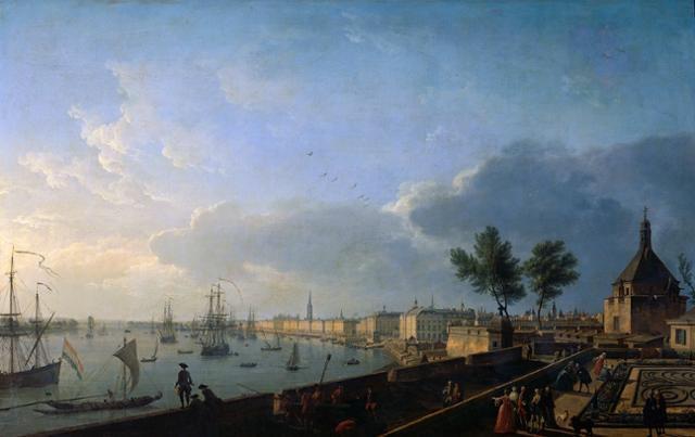 18세기 보르도항 풍경. 조제프 베르네 작(作), 캔버스에 오일. 루브르 박물관 소장