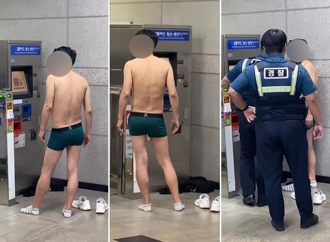 지난 19일 30대 남성 A씨가 남춘천역 안에서 속옷만 입고 담배를 입에 무는 등 난동을 부리는 모습./사진=유튜브 채널 'stellt' 영상 캡처