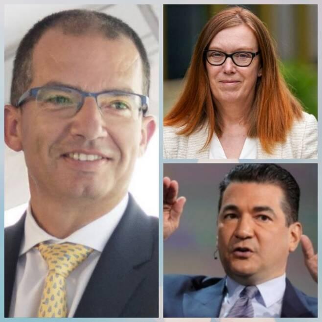 모더나의 스테판 방셀 CEO(사진 왼쪽), 아스트라제네카 백신 공동개발자인 세라 길버트 옥스퍼드대 교수(오른쪽 위), 화이자의 스콧 고틀립 이사(오른쪽 아래)/사진=AFP, AP뉴시스, 로이터