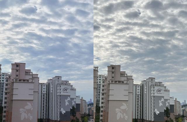 갤럭시S20플러스(왼쪽)와 아이폰13 프로로 촬영한 사진. 갤럭시 보다 아이폰13 프로가 좀 더 따뜻한 색감이 강조됐다./사진=노현섭 기자