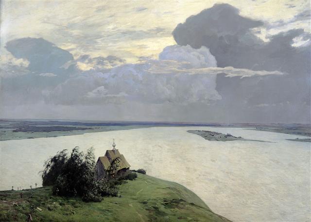 이사크 레비탄 '영원한 평화 위에', 1894년(150×206㎝, 트레티야코프미술관, 러시아 모스크바)