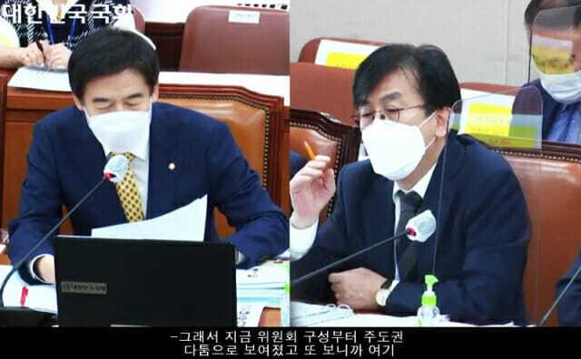 (왼쪽부터) 무소속 이용호 의원, 정기현 국립중앙의료원장. (사진=국회)