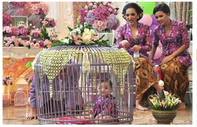 인도네시아 아기가 닭장 안에서 돌잡이를 하고 있다. 카판라기닷컴 캡처