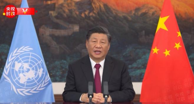 12일 제15차 유엔 생물다양성협약(UNCBD) 당사국 총회에서 화상 연설하는 시진핑 주석 (사진=CCTV 캡처)