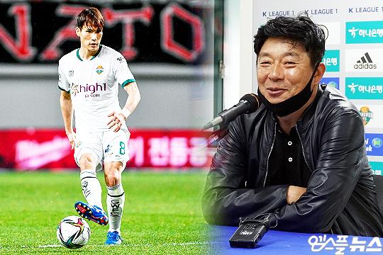 강원 FC 핵심 미드필더 한국영(사진 왼쪽), 김병수 감독(사진=엠스플뉴스, 강원 FC)