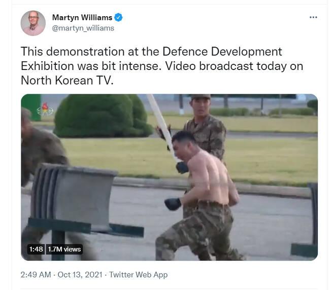 '38NorthNK'의 북한 전문 기자 마틴 윌리엄스가 트위터에 올린 북한의 11일 국방발전박람회 무술 영상/사진=트위터 캡처