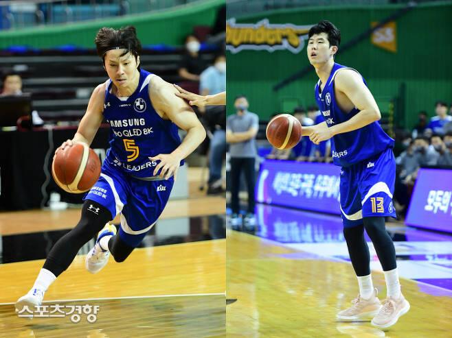 삼성의 주전 포인트가드 김시래(왼쪽)와 포워드 임동섭.  KBL 제공
