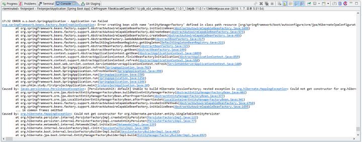 Spring Boot + JPA + openjdk 11 Error (Error creating bean with name