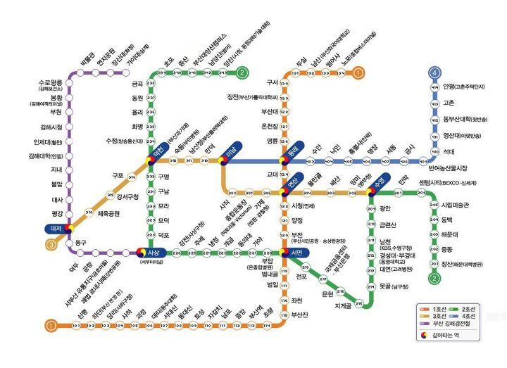Subway Map Of Busan.Subway Map Metro Lines In Busan 2015